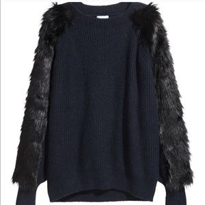 Sweaters - Fur sleeve sweater from H&M nwot